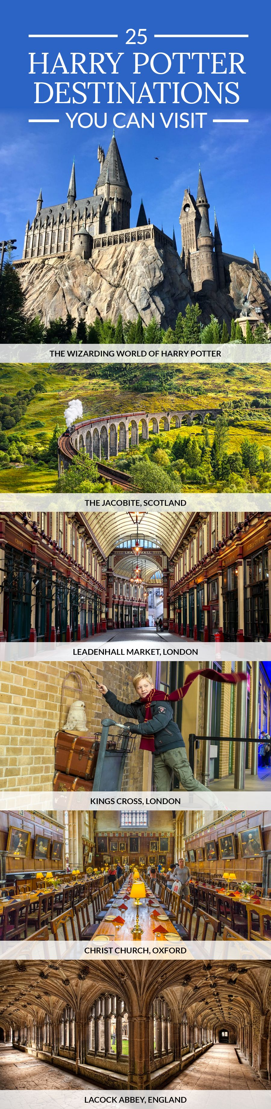 25 Harry Potter Destinations You Can Visit in Real Life #dolistsorbooks