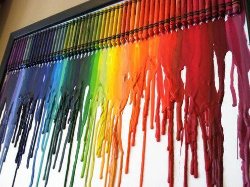 DIY Idea: Rainbow Melted Crayon Art