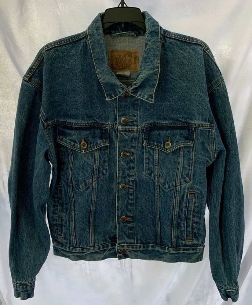 Canyon River Blues Men S Medium Denim Trucker Jean Jacket Fashion Clothing Shoes Accessories Mensclothing C Jackets Sherpa Denim Jacket Denim Jean Jacket [ 1000 x 825 Pixel ]