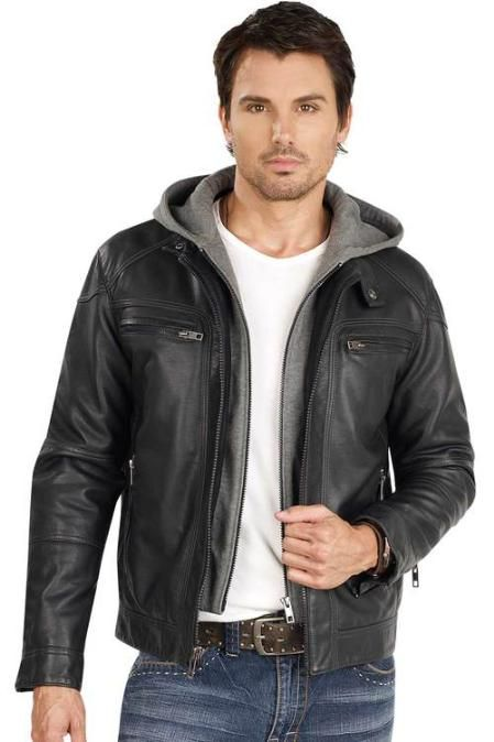Leather black jacket that really good to wear with style for only ...