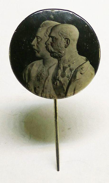 """Австро-Венгрия. Значок-""""патриотика"""" с Францем Йосифом и Вильгельмом-2, периода 1 Мировой войны."""