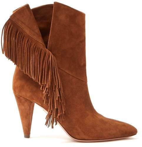 Aquazzura Apache 85 Fringed Suede Ankle Boots Womens Tan In