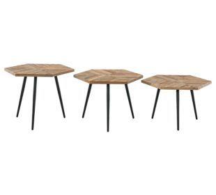 Fly Set De 3 Tables Basses Bois Metal Bureau Table