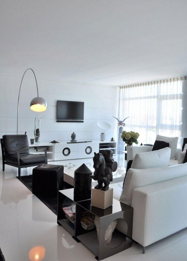 schwarz weiß-wohnzimmer ideen gestaltung mit farben fliesen-boden ...