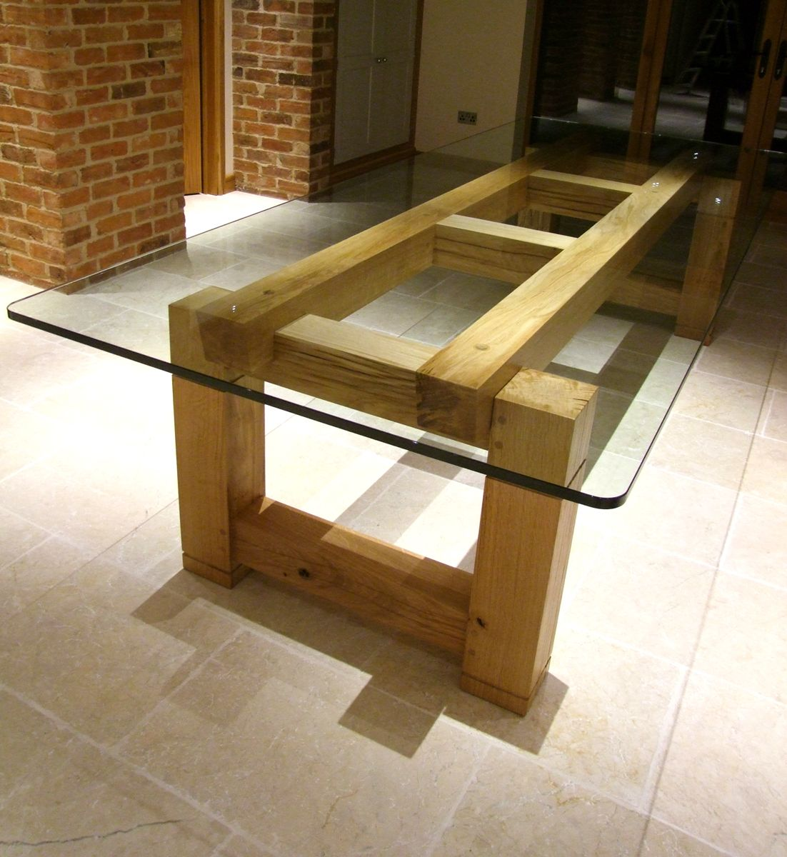 Bespoke Table With Glass Top Oak Dining Table Table Oak Table