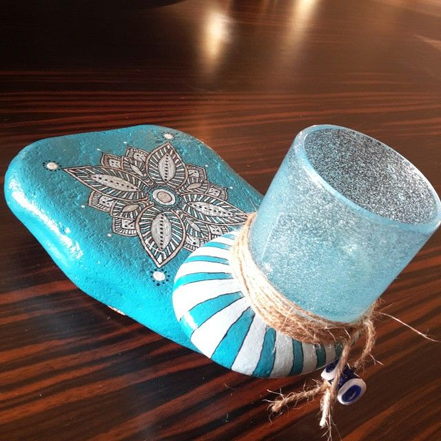 Blue dreams, good feelings, clear meditations, and mandala love.... Tealight holder, acrylic paint on stone.... 75 TL / 28 $ #StonePaint #stonepainting #stonepainters #stonepainted #rockpainting #rockpaint #rocks #rock #mandalapainters #mandala #mandalas #mandalastone #mandalastones #mandalarocks #tealightholder #tealight #tealight #present #gift #handmadepresent #handmadesale #shopping #shoppingonline