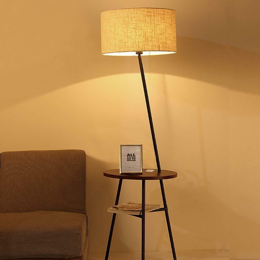 Modern Floor Lamp Living Room Lighting With Table Fabric Shade And Usb Port Wellmet Modern