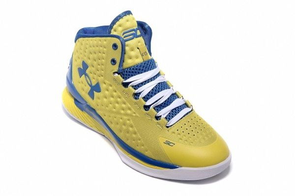UA Curry One 1 Golden State Warriors Home Metallic Gold Blue  a5e786b94b37