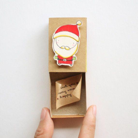 Carte de Noël père Noël mignon / Matchbox cartes de Noël unique