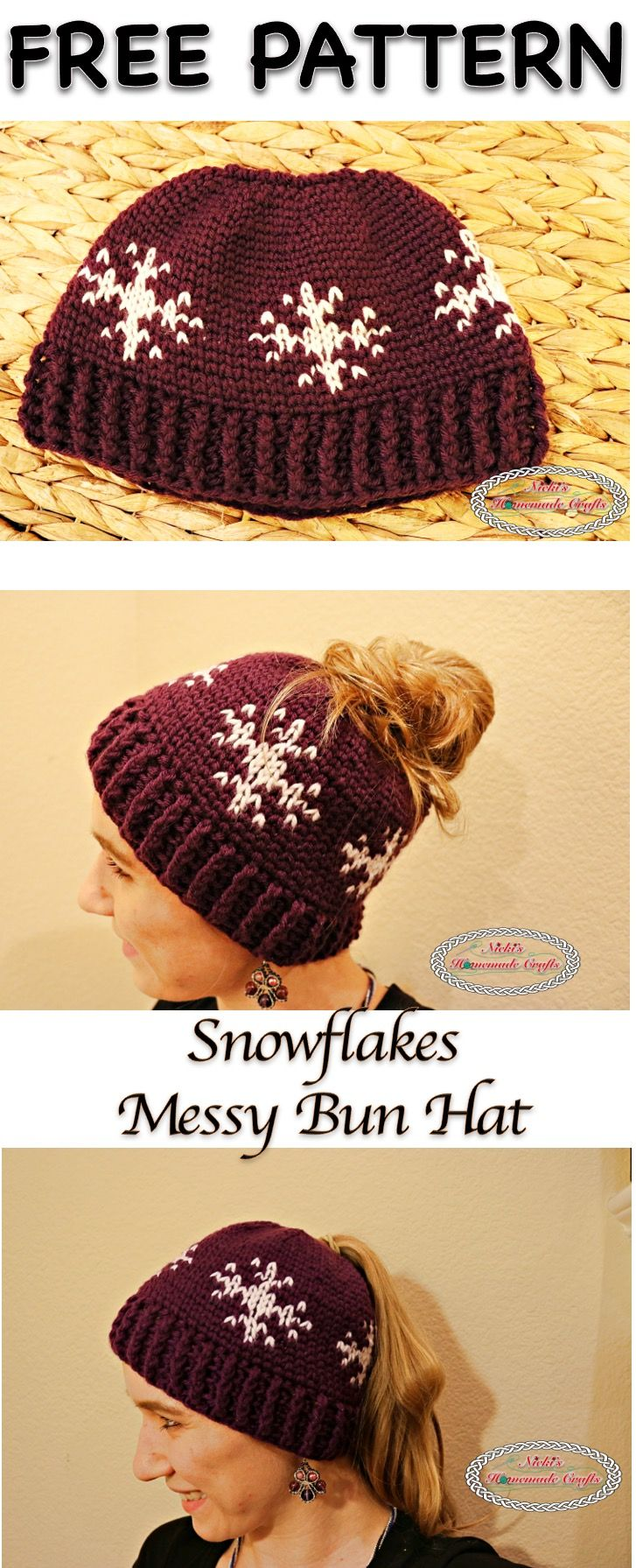 Snowflakes Messy Bun Hat - Free Crochet Pattern by Nicki\'s Homemade ...
