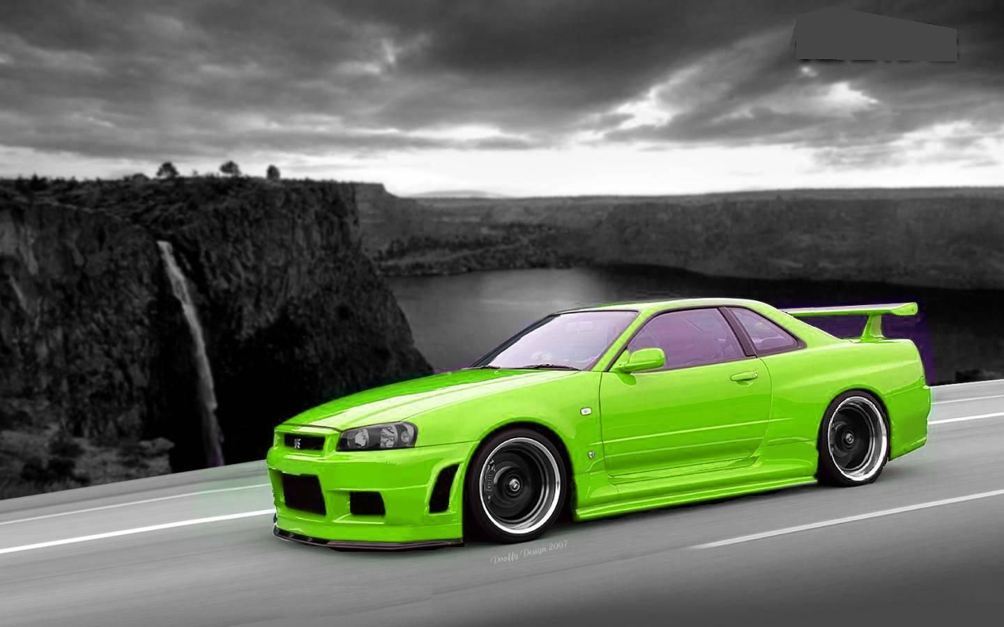 nissan skyline gtr r34 lime green and black black and white and grey background imports. Black Bedroom Furniture Sets. Home Design Ideas