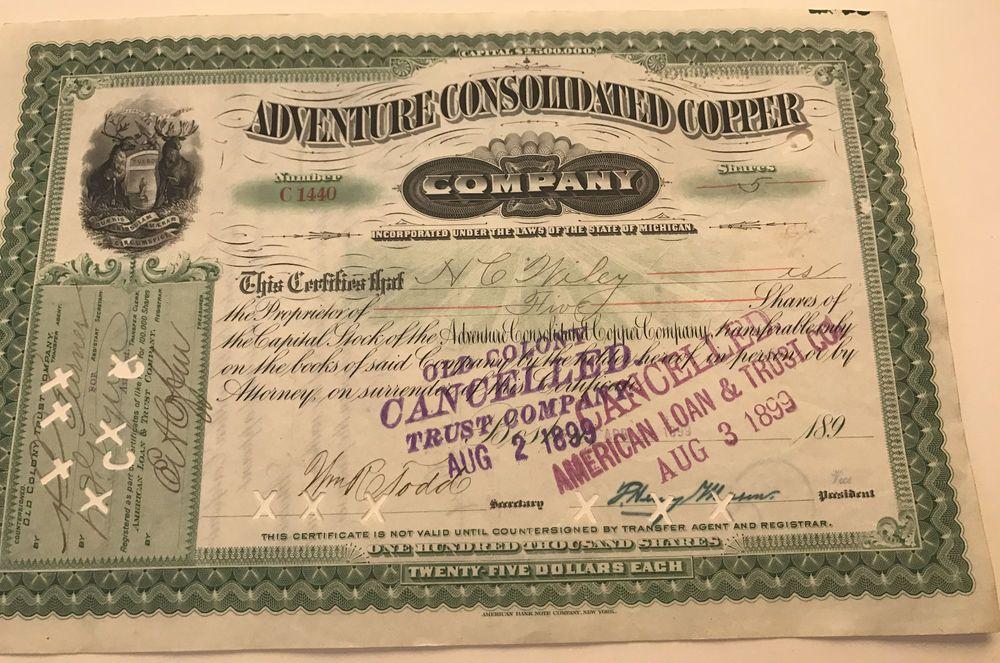 Adventure consolidated copper company stock certificate