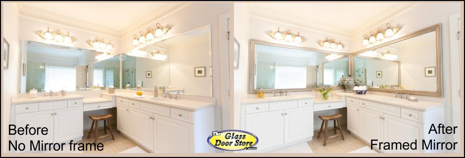 Mirror frame kits for bathroom vanity in color and profile choices