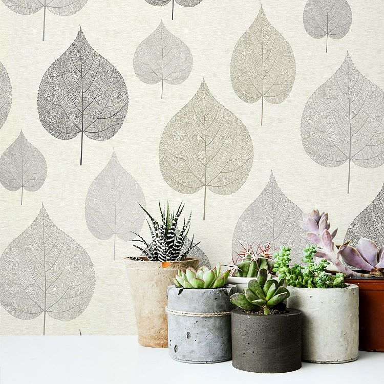 Crown Wallcoverings M1070 One Leaf Natural Wallpaper Roll Cream Horizontal Stripe Background With Large Leaf De Leaf Wallpaper Floral Wallpaper Wallpaper Roll