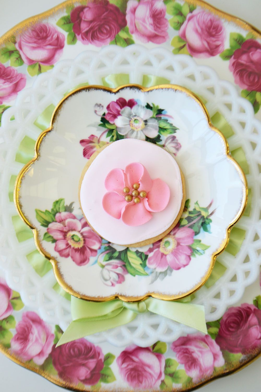 Flower Sugar Cookie On Vintage China And Mild Glass Plate By Bake Sale Toronto