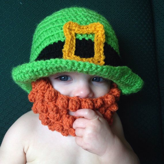 Crocheted Leprechaun Hat with Beard in Baby Infant by MiniToppers ... 6804dd0f32f