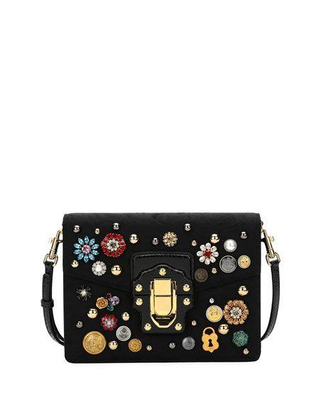 503794b0acb7 DOLCE   GABBANA Lucia Embellished Velvet Shoulder Bag