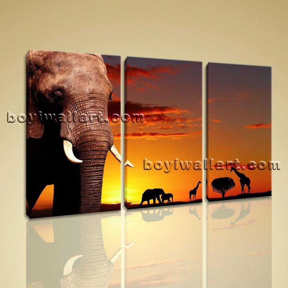 large african elephant sunset animal contemporary canvas wall art  - large african elephant sunset animal contemporary canvas wall art printbedroom large elephant wall art