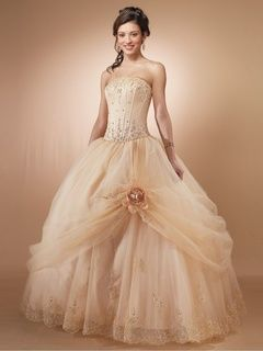 2014 Style Ball Gown Strapless Embroidery Sleeveless Floor-length Organza Prom Dresses / Evening Dresses