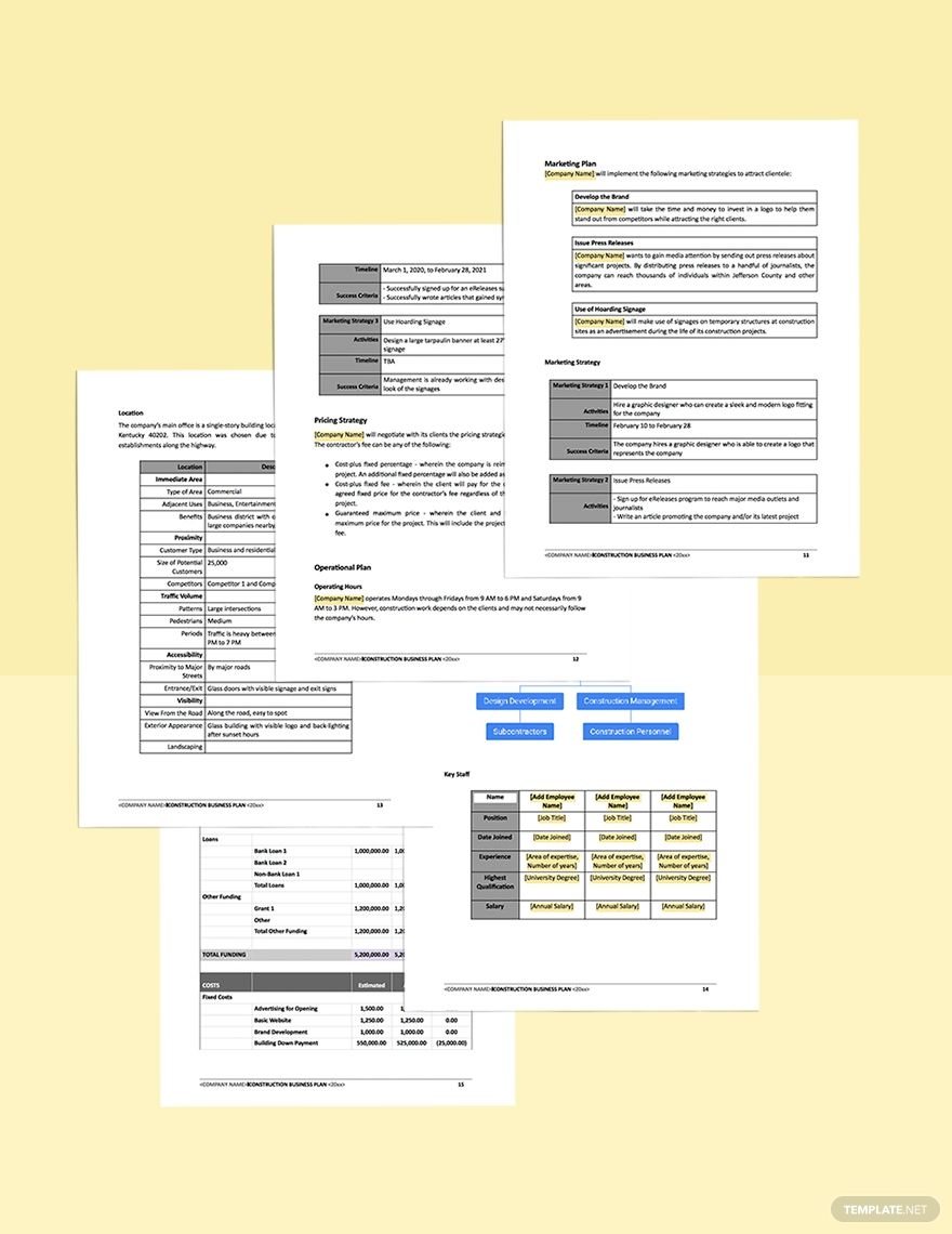 Construction Contractor Business Plan Template Word