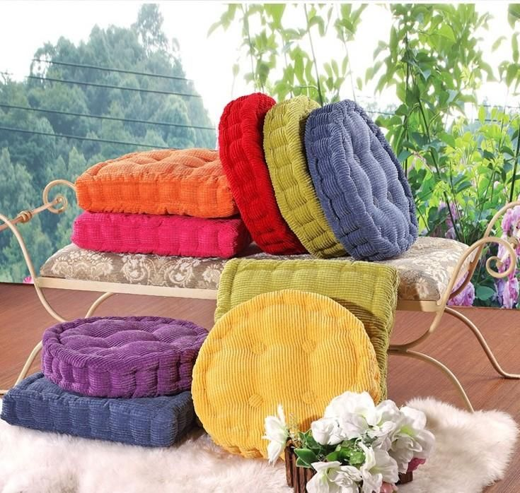 Chair Thickened Cushions Thick Corduroy Solid Color Square