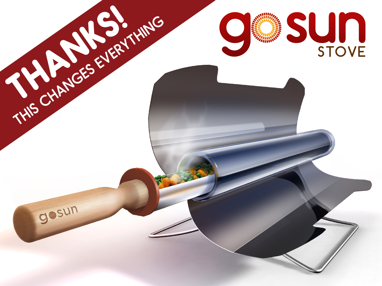 Only 20 minutes to a meal, safely sizzling up to 550°F, the GoSun Stove is the first truly practical fuel-free cooking solution.