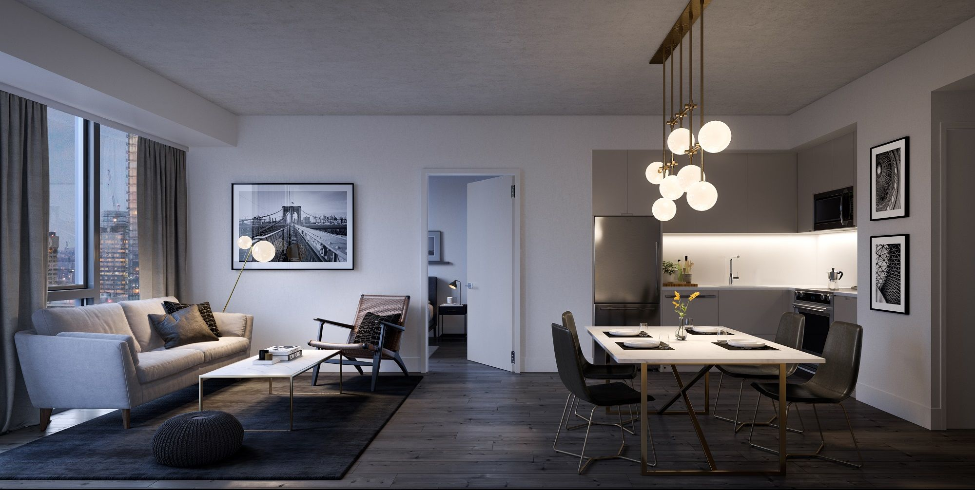 3d Render Of Open Concept Dining Room Kitchen And Living Area