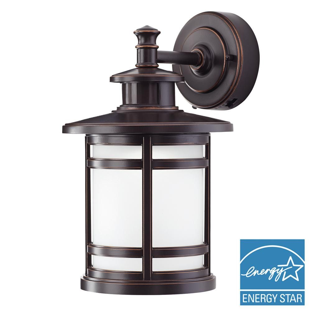 Home Decorators Collection Oil Rubbed Bronze Motion Sensor Outdoor Integrated Led Medium Wall Mount Lantern