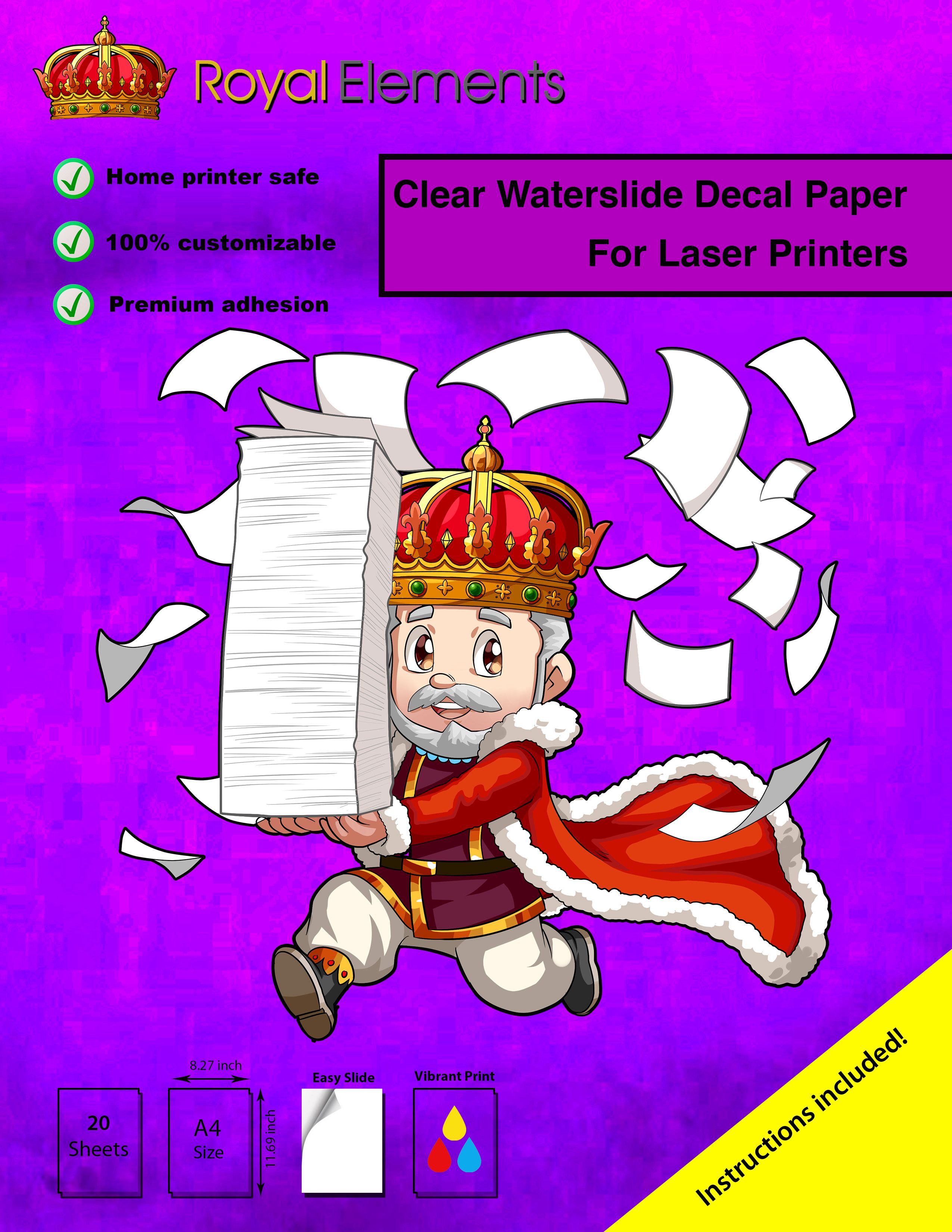 Royal Elements Clear Waterslide Decal Paper For Laser Printers Now Available At Our Store On Amazon Waterslide Decal Paper Vinyl Sticker Paper Decal Paper
