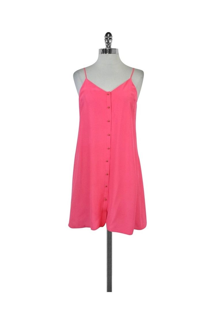 b4488b6ca3290 Amanda Uprichard- Neon Pink Silk Spaghetti Strap Dress Sz S | Current  Boutique