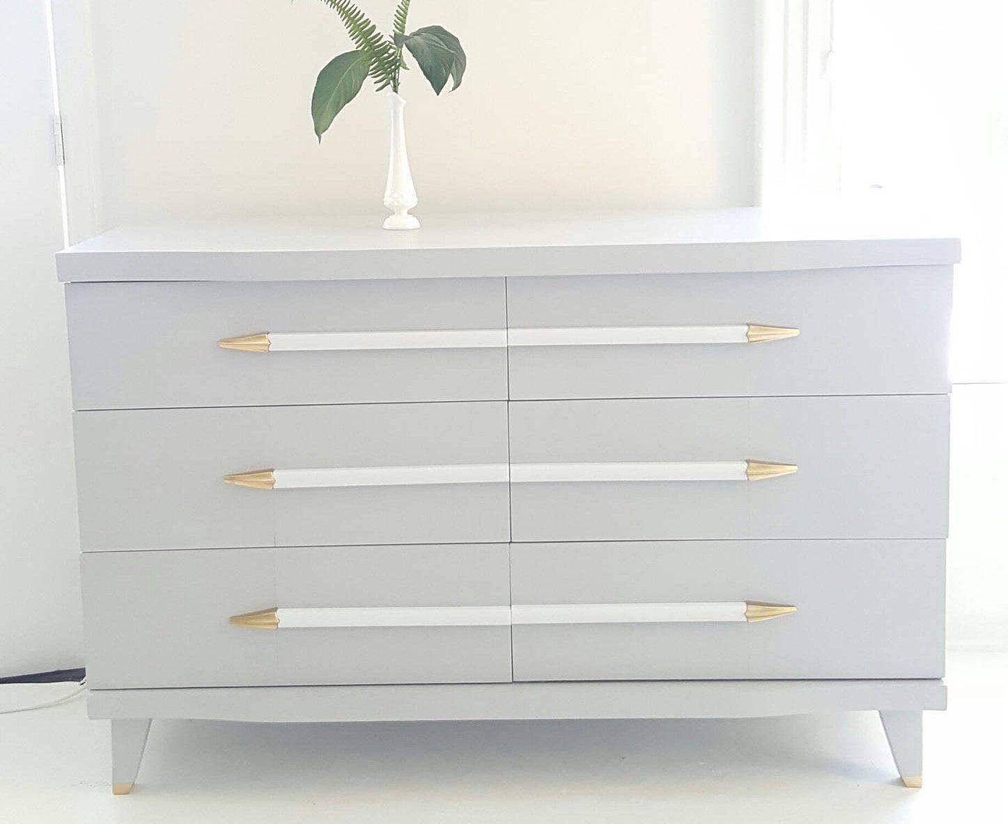 Sold Mid Century Modern Dresser Vintage Dresser Gray White And