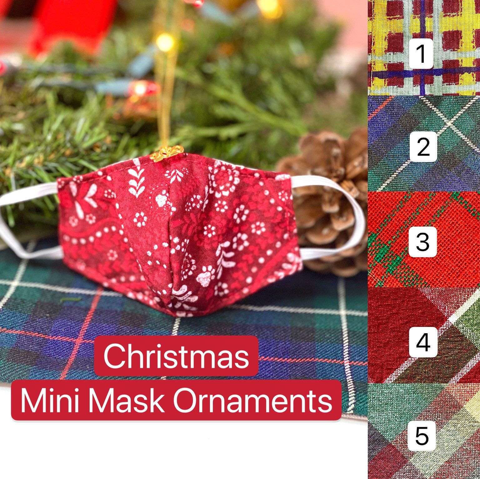 2020 Christmas Mini Face Mask Ornaments Handmade Many Etsy In 2020 Christmas Minis Handmade Ornaments Ornaments
