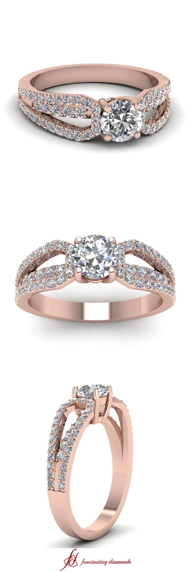 Split Loop Ring    Round Cut Diamond Side Stone Ring With White Diamond In 14K Rose Gold