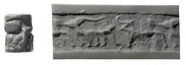 Cylinder seal  Period:Jemdet Nasr Date:ca. 3100–2900 B.C. Geography:Mesopotamia Medium:Copper or bronze Dimensions:0.87 in. (2.21 cm)