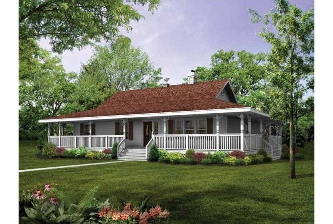Home porch single story house plans with wrap around for One level house plans with porch