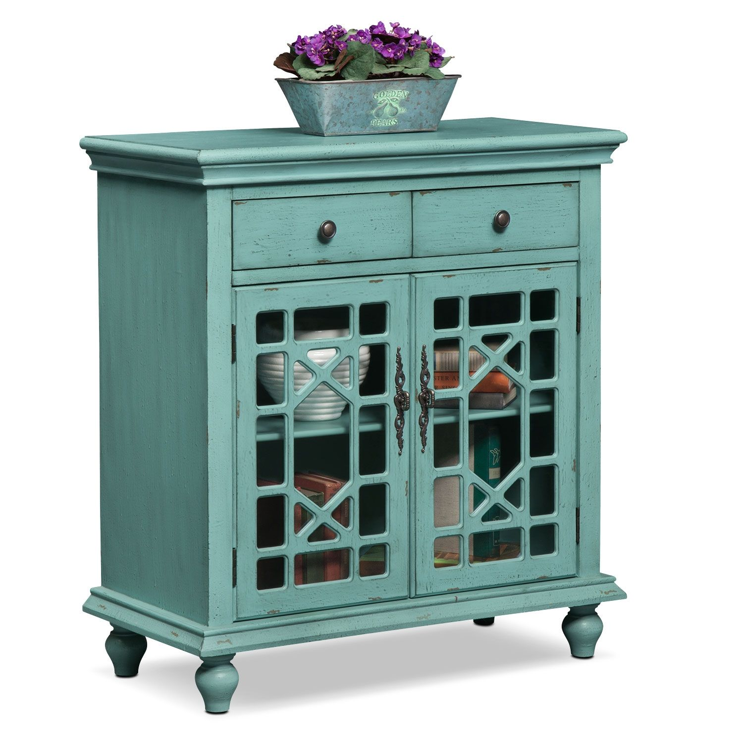 Grenoble Accent Cabinet - Teal | Door pulls, Metal accents and Moldings