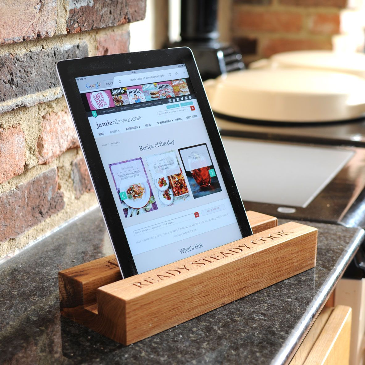 Kitchen Diy Wooden Receipe Stand Kitchen Tablet Holder Black Marble  Countertop Brick Stone Wall White Oak