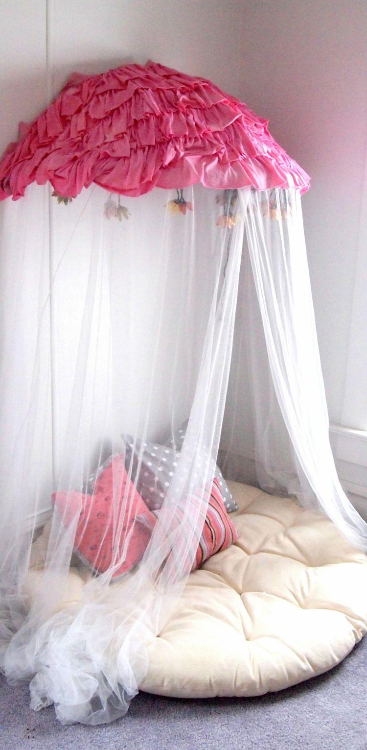 Moskitonetz Kinderzimmer | Leseecke Im Kinderzimmer Romantisch Design Himmelbett Sitzkissen