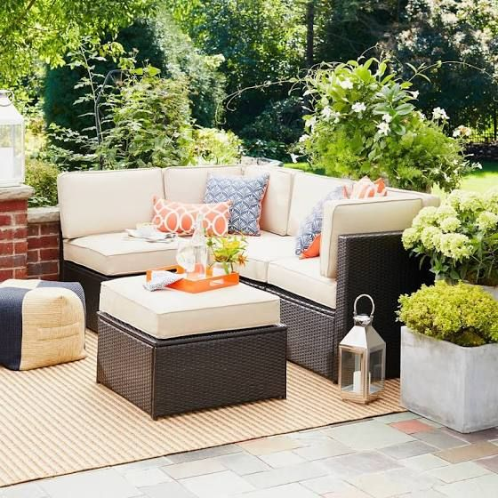 Small Outdoor Sectional Couch Patio Furniture Collection Wicker