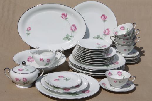 Vintage Germany Pink Rose Porcelain Dinnerware Set For 6 Danton
