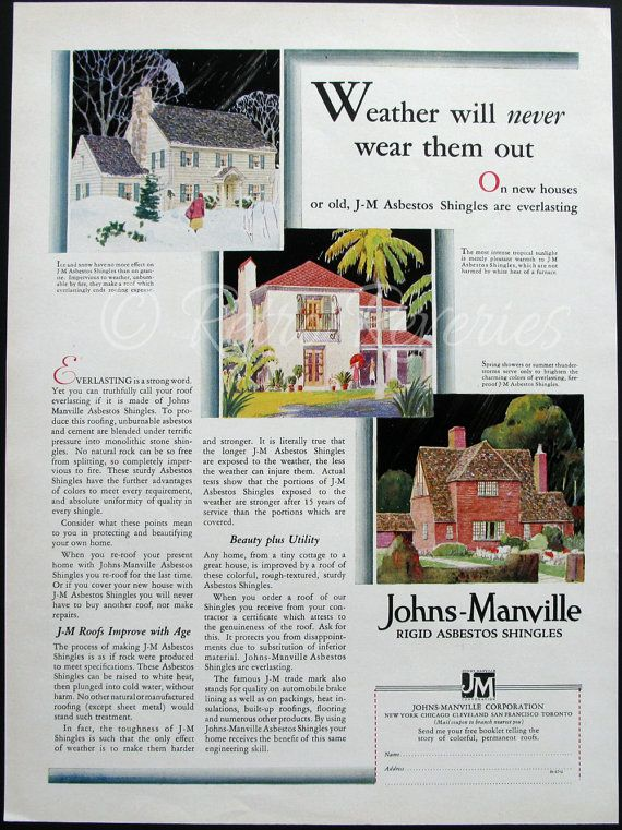 1929 Johns Manville Asbestos Roofing Shingles Ad Weather Will Never Wear Them Manville Gift For Architect Shingling