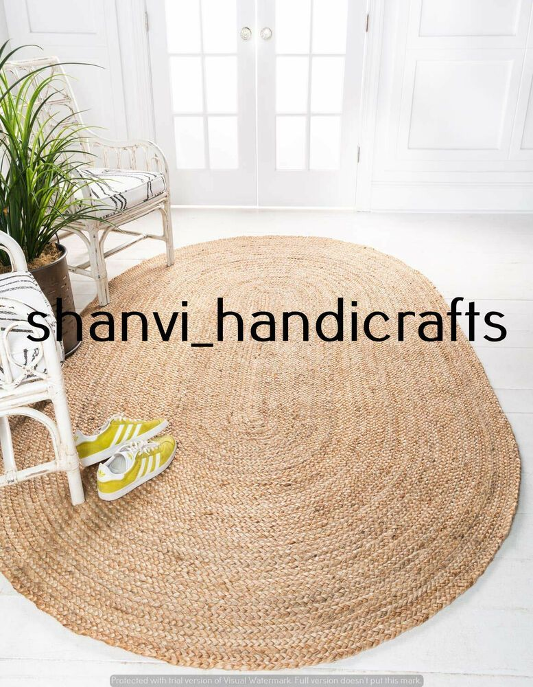 Natural Jute Braided Rug Hand Woven Oval Home Decor 60x96 Inches Area Rug Carpet  Natural Jute Braided Rug Hand Woven Oval Home Decor 60x96 Inches Area Rug Carpet