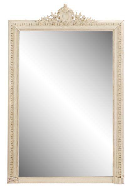 Gustavian Style Beige Mirror w/ Carved Crest : Lot 1048