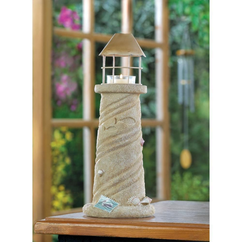 Sandcastle Lighthouse Candle Lamp Lantern Wedding Centerpiece Nautical Decor  NEW