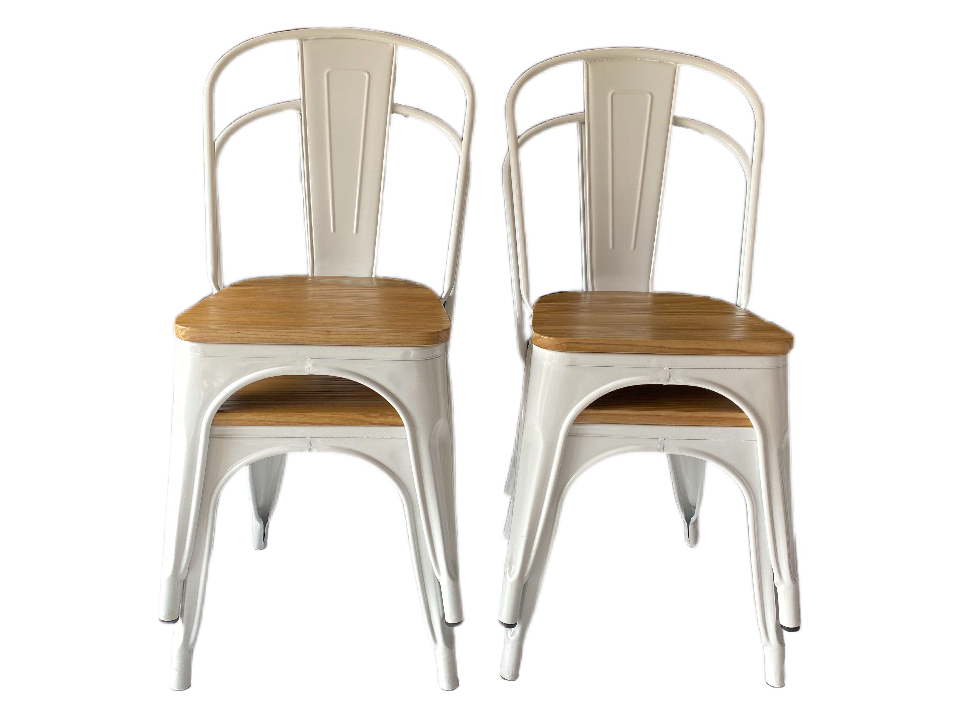 Pack 4x Chaises Industriel Blanche Assise Bois En 2020 Chaise Metal Chaise Industrielle Chaise