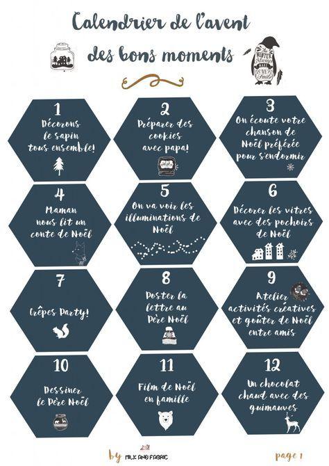 Calendrier De L Avent Rigolo.Calendrier De L Avent Des Bons Moments Free Printable