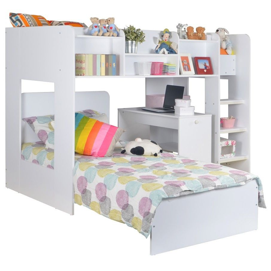 Grey loft bed with desk  FLAIR FURNISHINGS WIZARD JUNIOR uLu SHAPED BUNK BED Only
