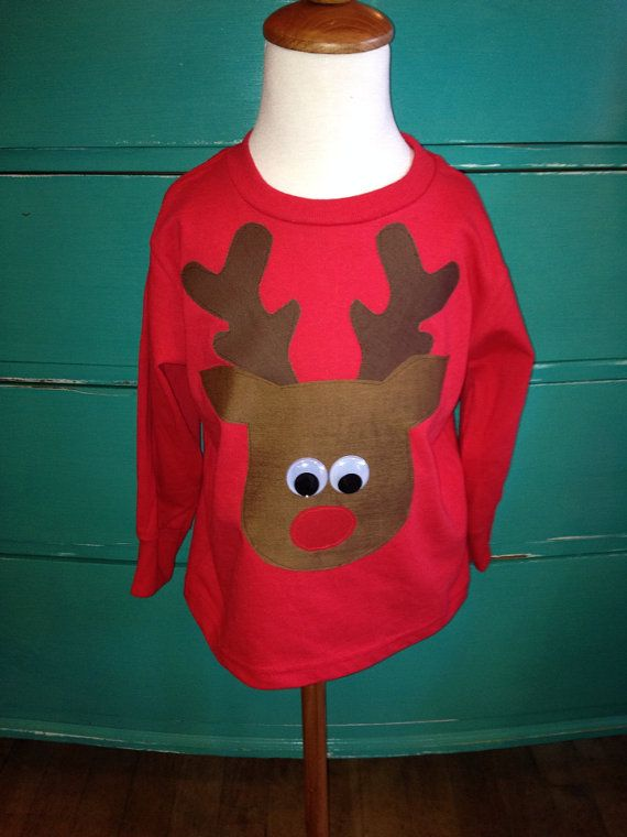 Boy reindeer red long sleeve shirt size 4t by 2littlelulus on Etsy, $18.00