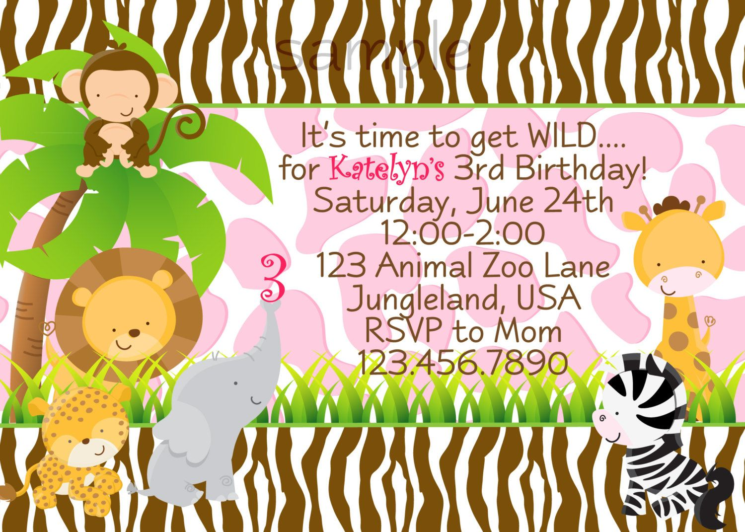zoo jungle animals birthday party invitation Printable digital file