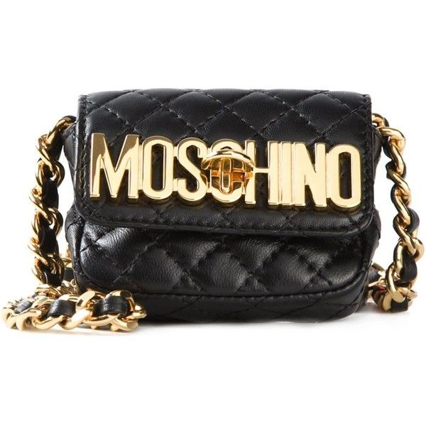 Moschino Mini Quilted Crossbody Bag (11,690 MXN) ❤ liked on Polyvore featuring bags, handbags, shoulder bags, black, leather crossbody, leather handbags, leather purse, black quilted shoulder bag and crossbody purse